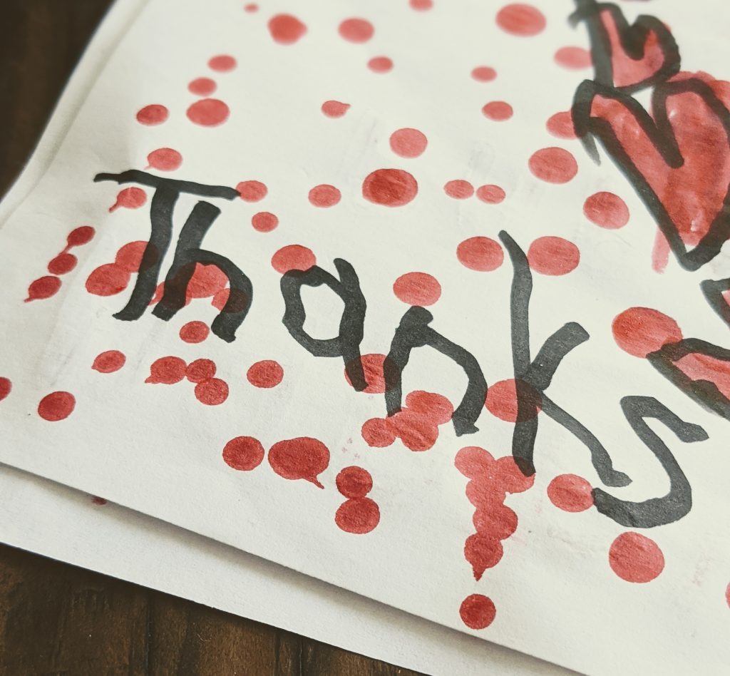 a hand made thank you card